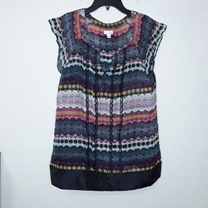 10 Odille Anthropologie Silk Lace Print Top